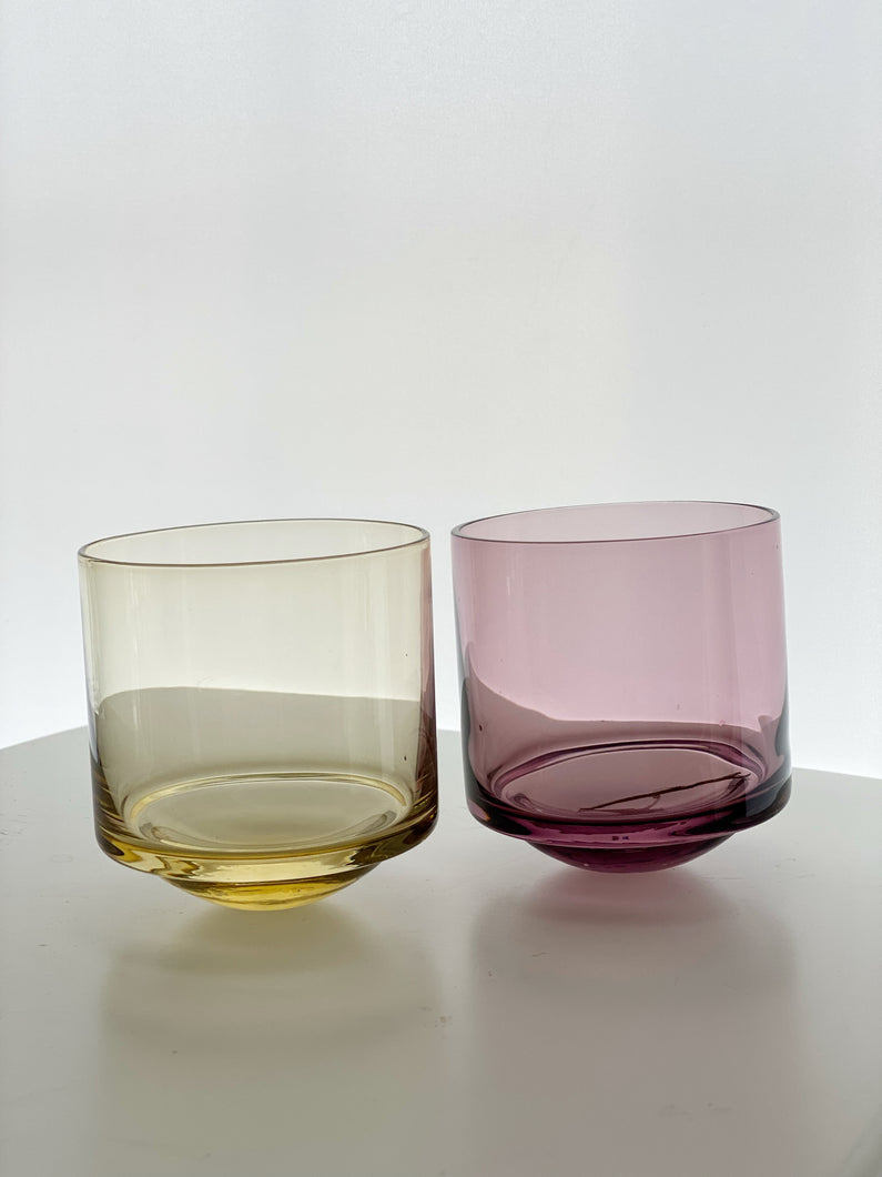 Beautiful modernist rocking glass tumblers in 1960s colours
