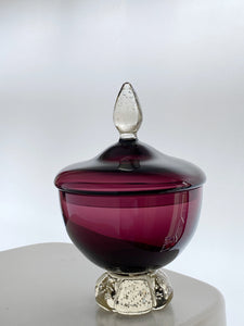 Aseda Glasbruk Apothecary Bowl Amethyst Footed Controlled Bubbles Midcentury Glass
