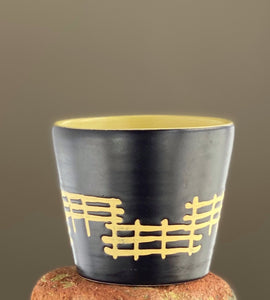West German Ceramic Pot 1970s Brown and Yellow Glaze