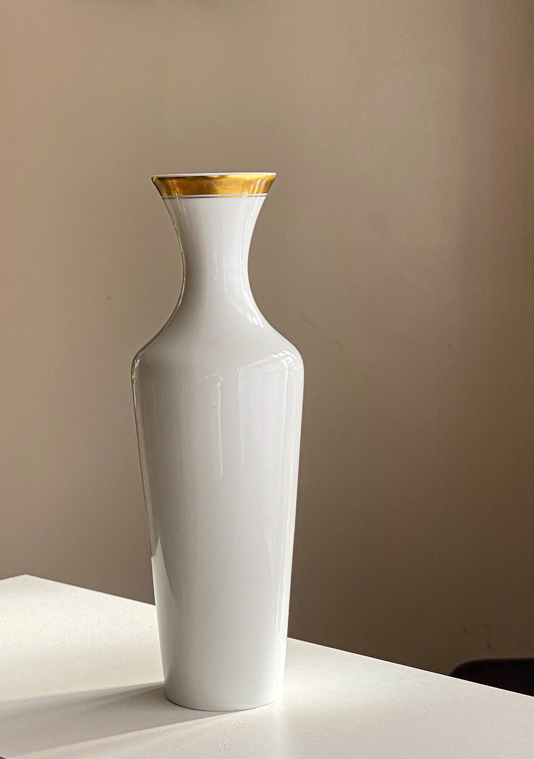 Hutschenreuther Selb Porcelain Vase Design by Robert Broch with  gold decor 1960/70s