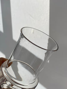 Contemporary modernist vase in clear glass influenced by Kaj Franck