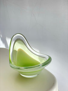Flygsfors 'Coquille' cased bowl green and clear glass