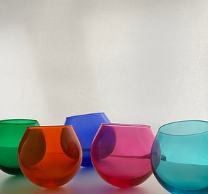Modernist glass tumblers in blown glass 1960s 1970s