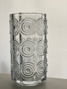 A Tamara Aladin Rengas (Ring) pattern seven-sided vase in flint designed for Riihimaki in 1971