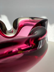 Murano Italian glass pink heavy bowl organic form