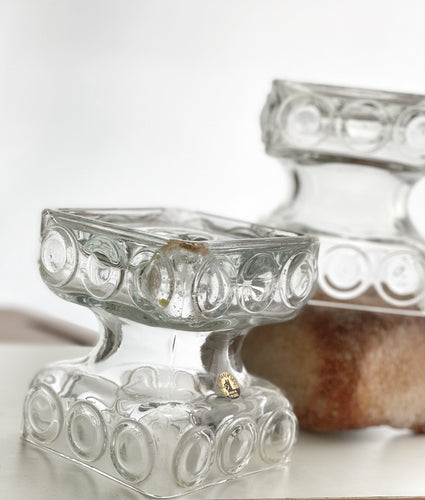A pair of Kehra Glass candleholders by Tamara Aladin for Riihimaki/ Riihimäen Lasi Finland