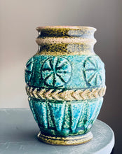 Load image into Gallery viewer, Bay West German Ceramic vase 1960s duck egg blue sgraffito Glaze influenced by Aldo Londi
