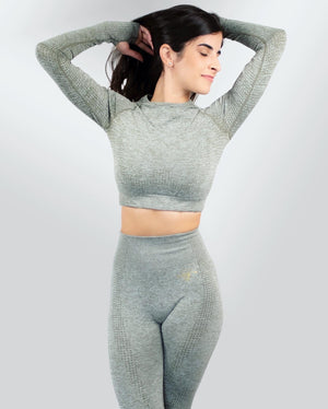 SEAMLESS GODDESS SET SPORTS BRA, LEGGINGS, & CROP TOP