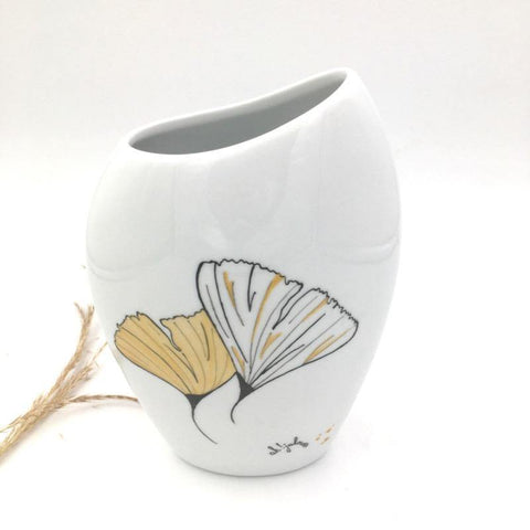 Vase en porcelaine Ginkgo Citron d'or - Vase - Peint main Paris