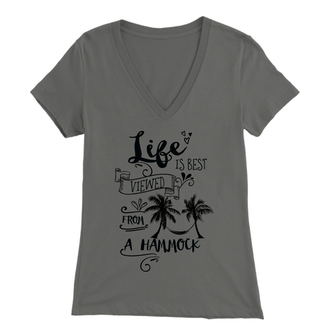 """Life is best viewed from a hammock"" V Neck with black lettering"