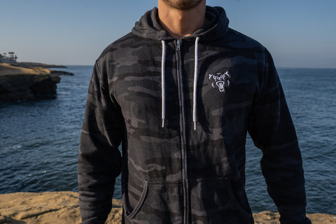 Black Camo Full-zip Hooded Sweatshirt
