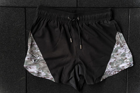 Black/Multicam Training Shorts - Athletic Fit