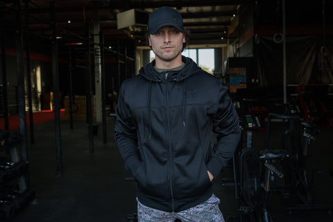 Black Poly-Tech Zip Hoodie