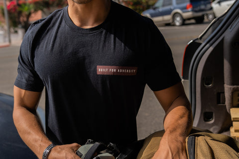 "Black Heather ""Built For Adversity"" Maroon nametape Tee"