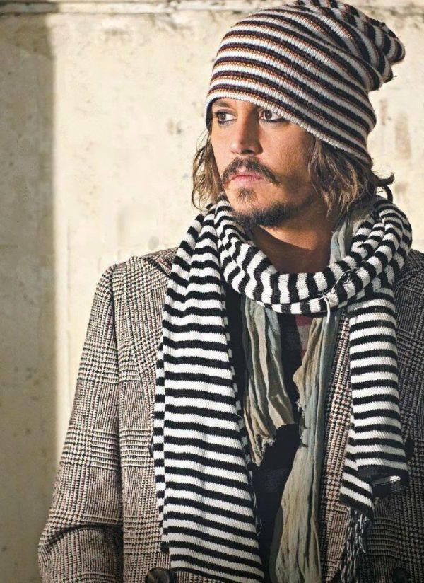 Johnny Depp Inspired Winter Scarf-  Black and White