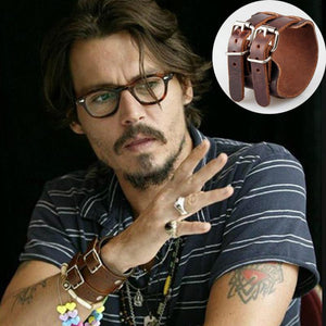 Johnny Depp Signature-  Leather Cuff Wrap Bracelet
