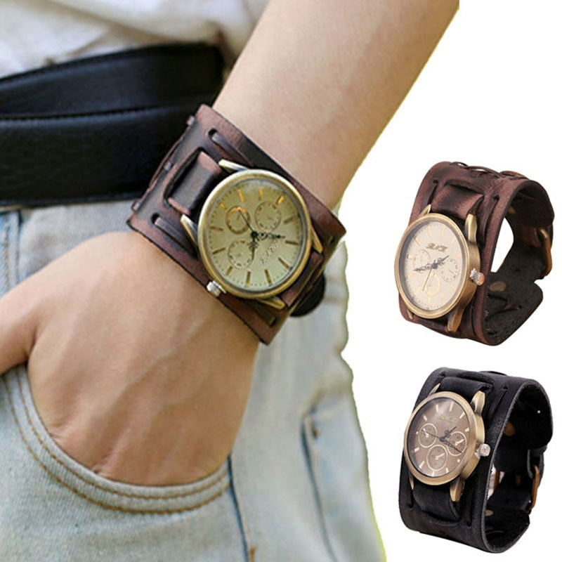 Leather Bracelet Cuff Watch - Johnny Depp Style
