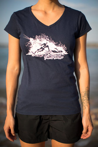 Women´s T-shirt V-neck NAVY BLUE