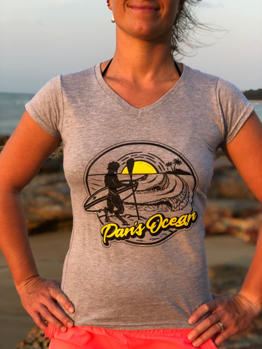 Women´s T-shirt V-neck GREY