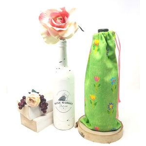 Happy-Garden-Green-Flowers-Drawstring-Wine-Bag