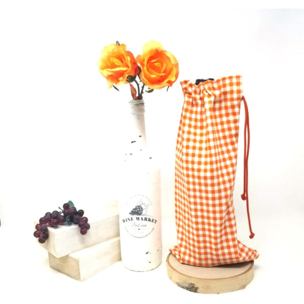 Vintage-Orange-Gingham-Drawstring-Wine-Bag