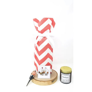 Coral-Chevron-Wine-Bag-Gift-Set
