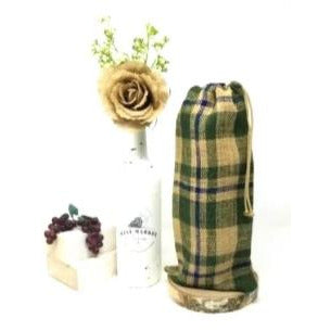 Green/Navy Burlap Plaid Drawstring Wine Bag