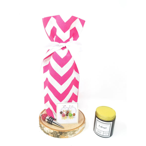 Pink-Chevron-Wine-Bag-Wine-Accessories-Wine-Candle