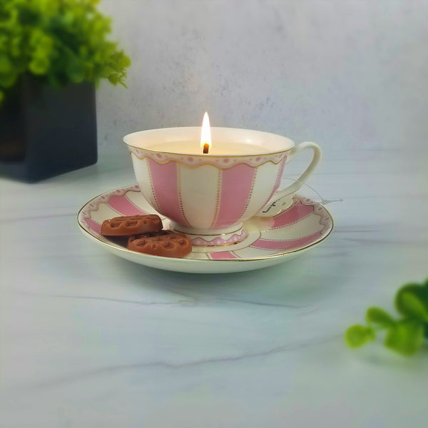 Pink-White-Strawberry-Tea-Cup-Candle-Handpoured