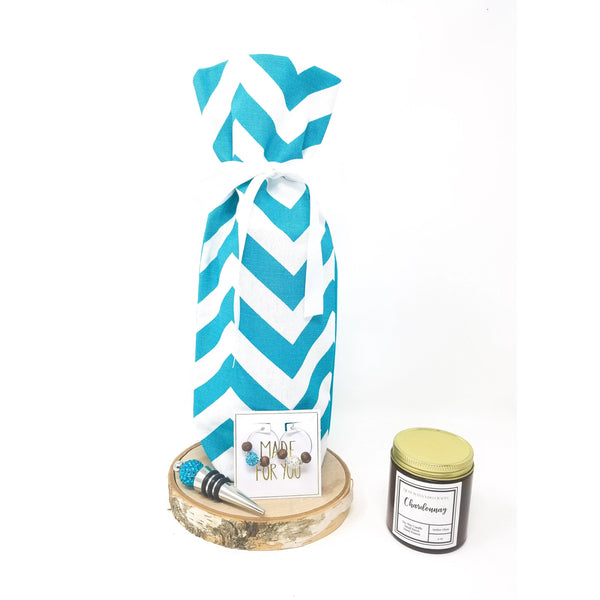 Teal-Chevron-Wine-Bag-Gift-Set