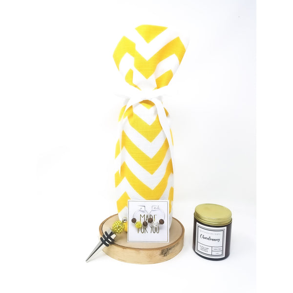 Yellow-chevron-wine-bag-set