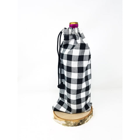 Buffalo Plaid Drawstring Wine Bag