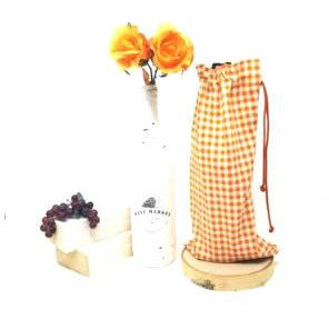 Orange Gingham Drawstring Wine Bag