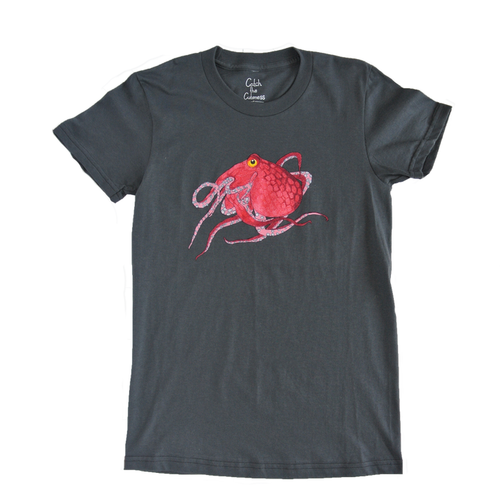 Octopus Print Grey Adult Crew Neck Tee | Shrimp 'n Lobster