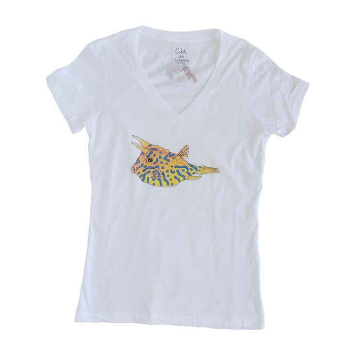 Cowfish Print Sheer Adult V-neck Tee | Shrimp 'n Lobster