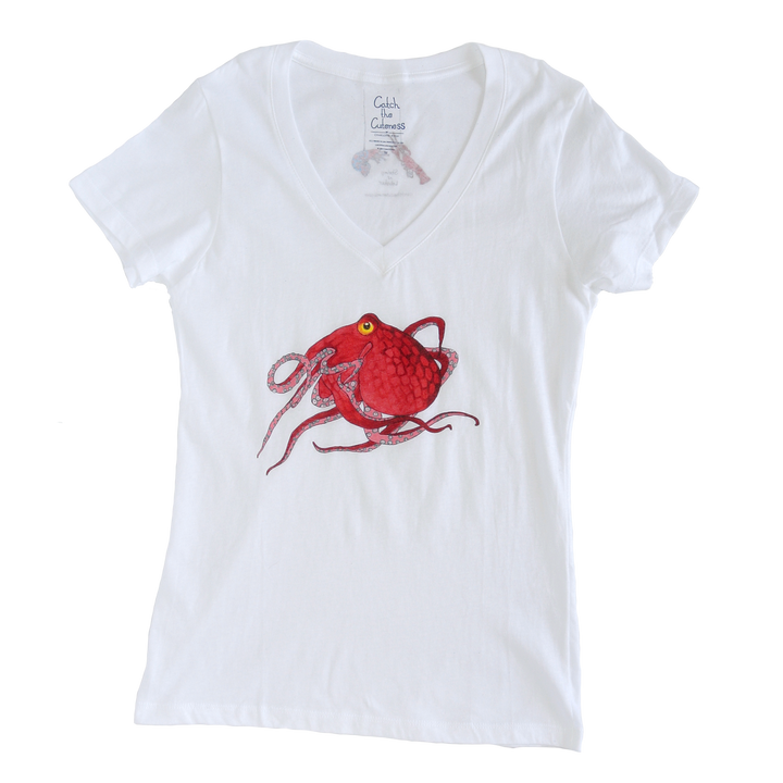 Octopus Print Sheer Adult V-neck Tee | Shrimp 'n Lobster