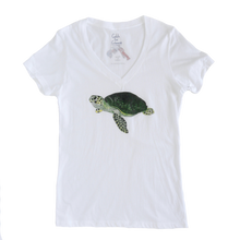 Load image into Gallery viewer, Sea Turtle Print Sheer Adult V-neck Tee | Shrimp 'n Lobster