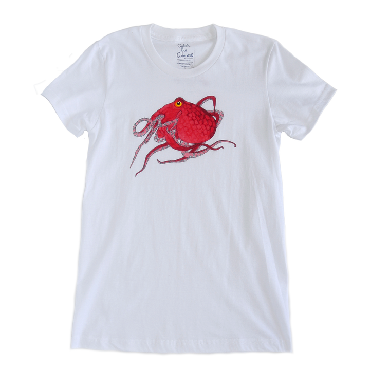 Octopus Print White Adult Crew Neck Tee | Shrimp 'n Lobster