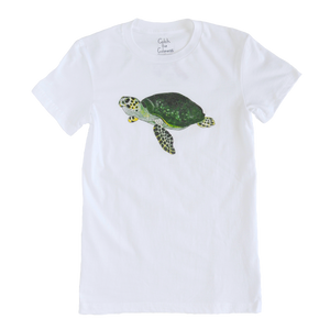 Sea Turtle Print White Adult Crew Neck Tee | Shrimp 'n Lobster