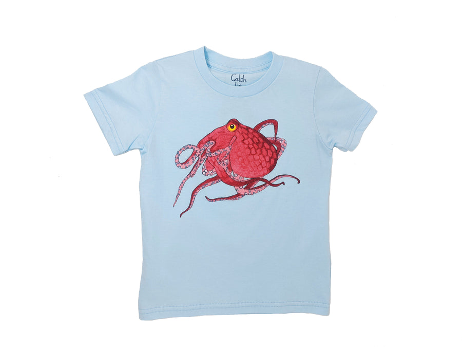 This Baby Blue Octopus toddler tee is the perfect gift for every ocean lover. The soft cotton and eco printed vibrant red Octopus hold colors for even the most adventurous kid! Multiple washes with no fading. Show you love the ocean by wearing Shrimp 'n Lobster apparel!