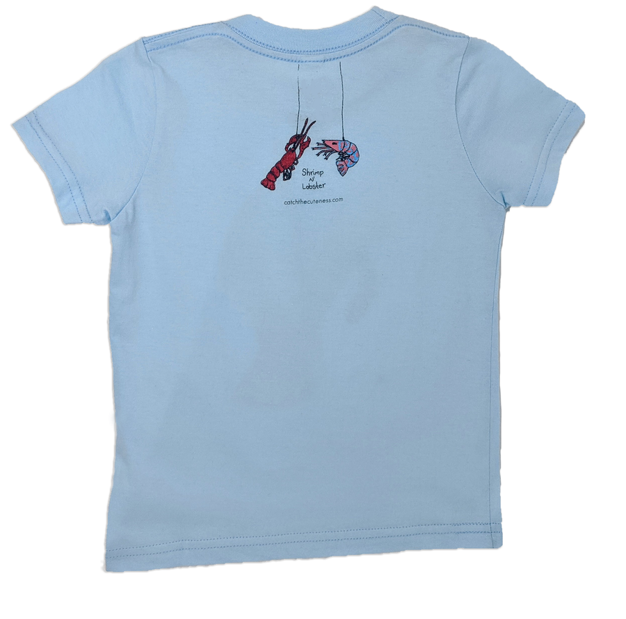 Every toddler tee has a Shrimp 'n Lobster print on the back. A fun and cute logo that represents the adventurous explorer inside your child.