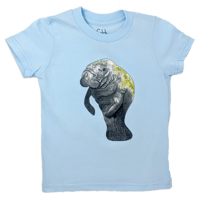This Baby blue Manatee toddler tee is the perfect gift for every ocean lover. The soft cotton and eco printed Sea Turtle hold colors for even the most adventurous kid! Multiple washes with no fading. Show you love the ocean by wearing Shrimp 'n Lobster apparel!