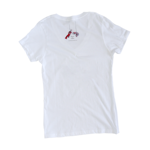 Our Adult Sheer Cotton V-neck showcases Shrimp 'n Lobster on the back. Showing off your love for the oceans when you wear Shrimp 'n Lobster.
