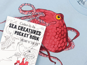 Every Sea Creature printed apparel comes with a FREE Sea Creatures Coloring book. Learn about the Sea Turtle as you wear it! A perfect gift combo for every adventurous kid!