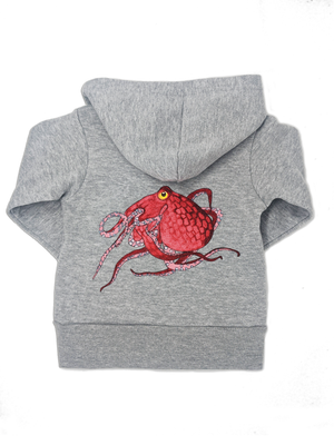 Octopus Print Grey Toddler Hoodie | Shrimp 'n Lobster