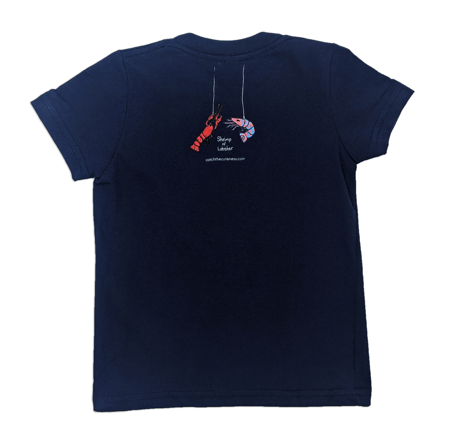 Manatee Print | Boys and Girls Animal Print T-shirt | Kids Navy Blue Toddler Tee | Shrimp 'n Lobster Apparel