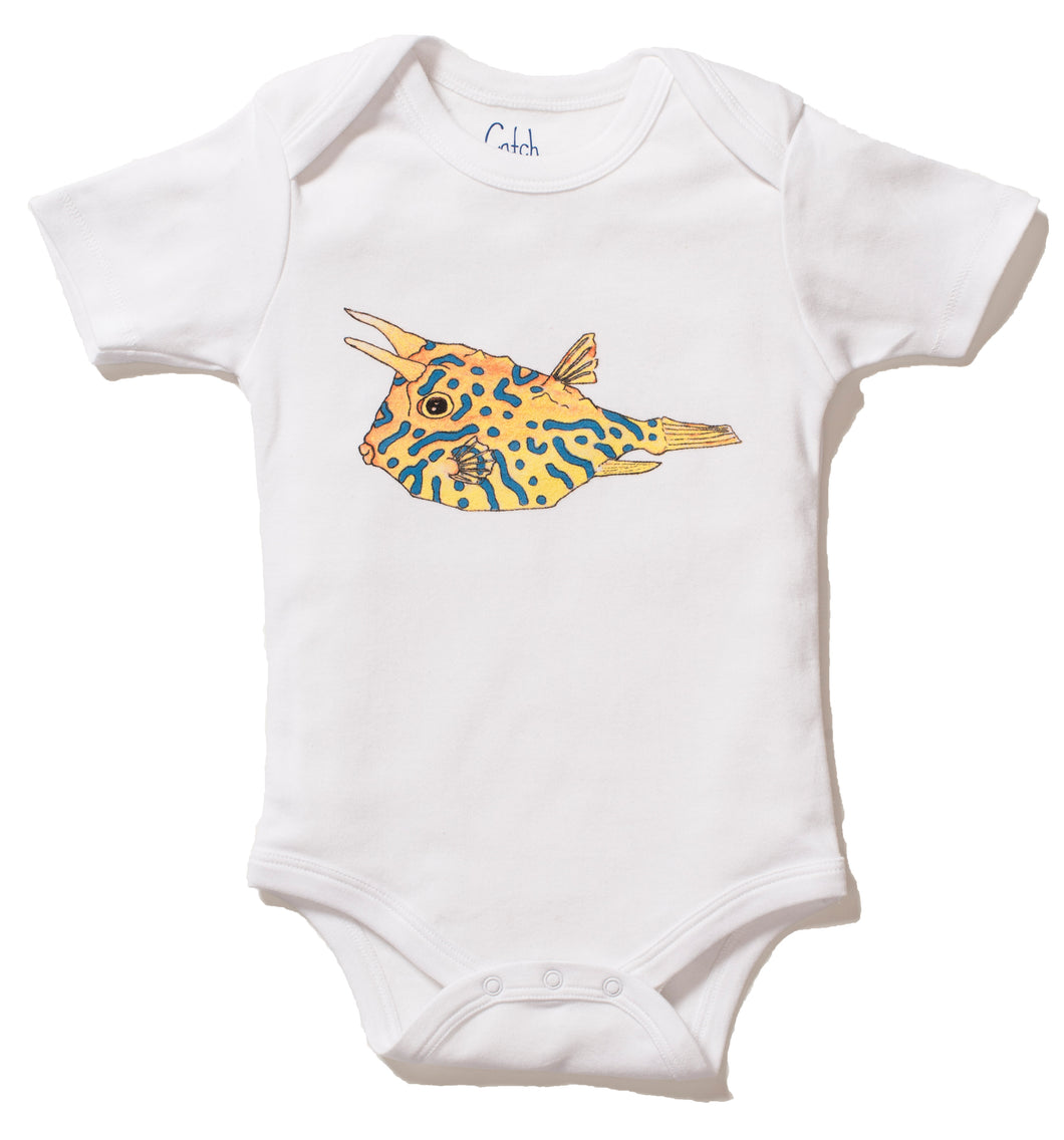 Cowfish Print Short Sleeve Onesie