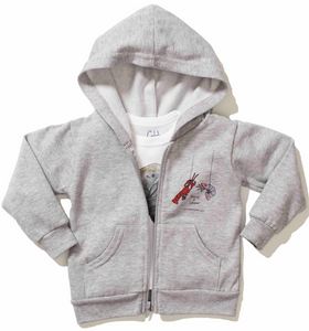 Soft and warm Grey Toddler Hoodie with two pockets in the front and zipper closure. Eco friendly print with Catch The Cuteness on the back.