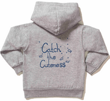 Load image into Gallery viewer, Unisex Grey Infant Hoodie | Catch the Cuteness Print on the back