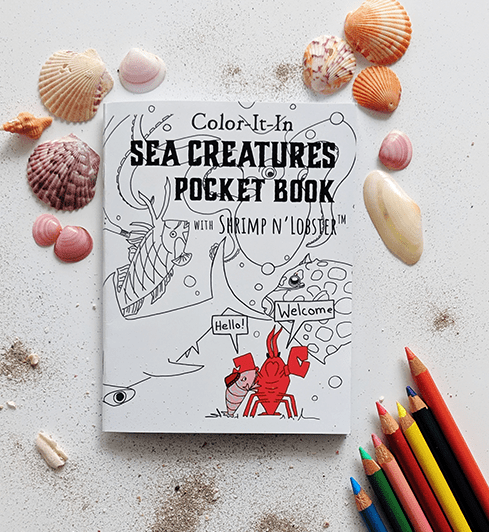 Color-It-In Sea Creatures Pocket Book with Shrimp 'n Lobster
